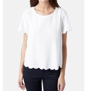 Topshop white scalloped short sleeve top
